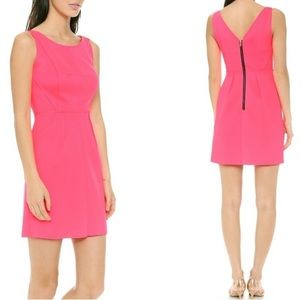 Milly scuba hot pink fit flare dress reverse seam